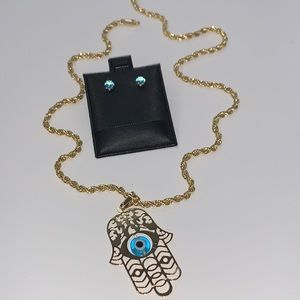 Jewelry - Baby blue Hamsa hand with evil eye jewelry set